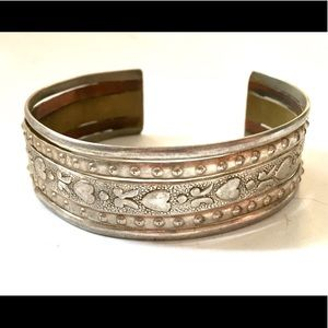 Vintage boho silver heart bracelet